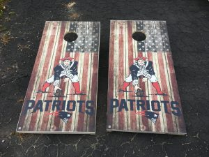 New England Patriots cornhole boards