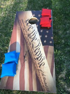 United States Constitution and flag cornhole board