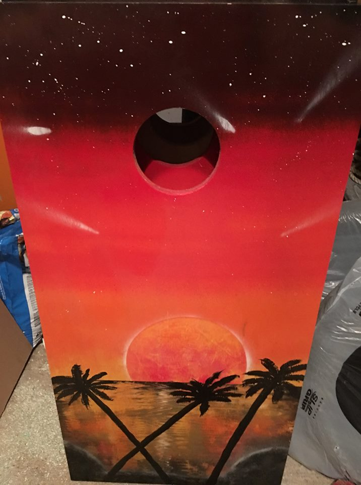 tropical sunset handpainted cornhole board